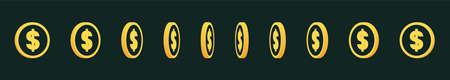 Set of rotating gold coins. 3d dollar coins. Golden money set. Illusztráció