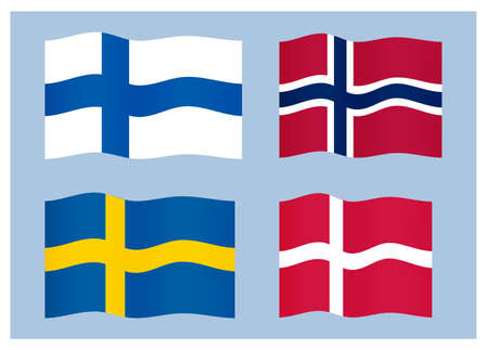 Set of scandinavian, northern countries national flags.