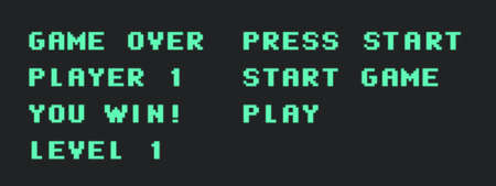 Set of retro video game words. Pixel typography