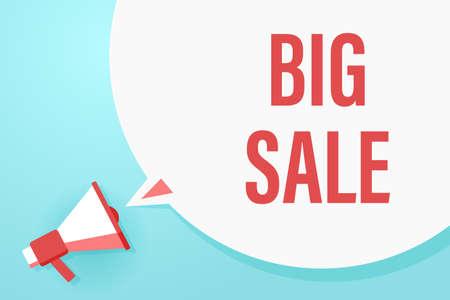 Flat megaphone with speech bubble and phrase - Big sale Illusztráció