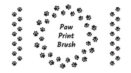 Paw print brush. Animal footprints, prints or foot steps. Vettoriali