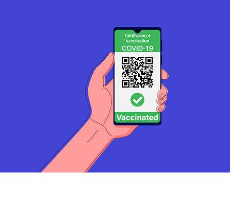 Health passport application. Digital certificate of vaccination