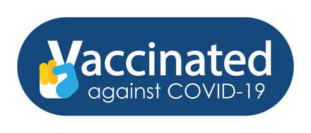 Vaccine campaign stickers. Coronavirus vaccine stickers. Vaccination badges Illustration