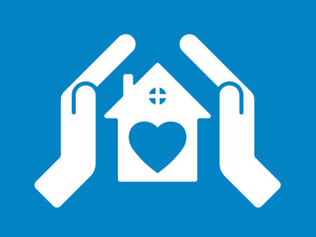 Home care, insurance concept. Hands cover the roof of the house. Illustration