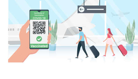 Hand keeping phone. Health passport application. Digital certificate of vaccination Illustration