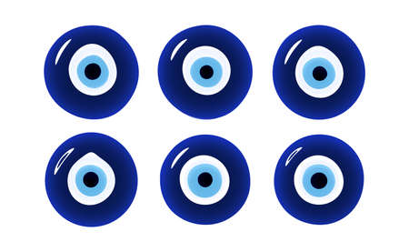 Glass islamic, greek amulet. Evil eye protection sign. Illustration