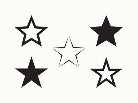 Outline star shape icon. Silhouette star symbols.