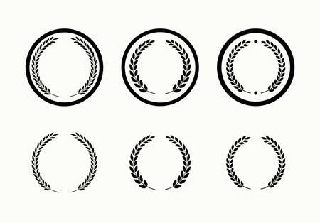 Set of laurel award symbols. Laurel branches symbol.
