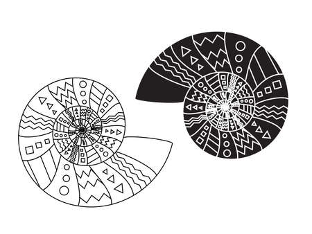 Spiral shell symbol. Line outline and glyph style illustration. Illustration