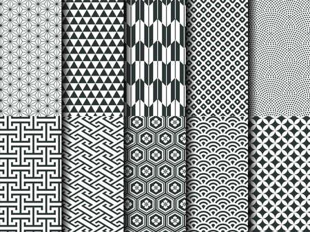Traditional Japanese wave patterns, Japanese geometric patterns.