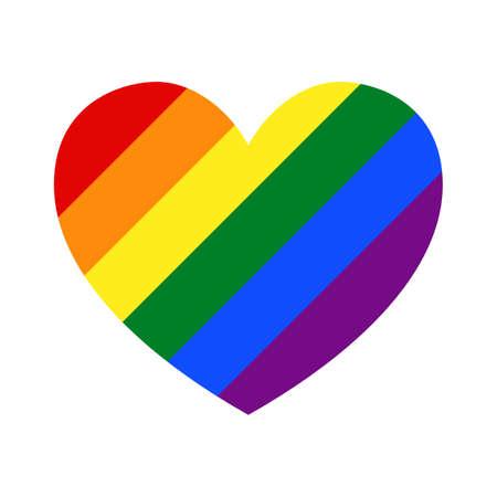 Lgbt flag inside heart. Gay flag symbol. Lgbtq flag sign. Illustration