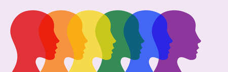 Heads painted in the colors of the lgbt flag.
