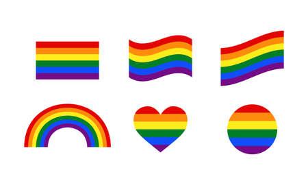 Rainbow flag, wavy flag, rainbow heart, circle. Illustration