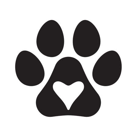 Pet print and heart inside. Pet love or paw love concept. Illustration