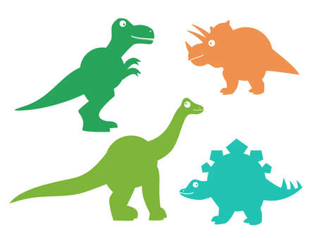 Set of cute dinosaurs. Cute dino silhouettes