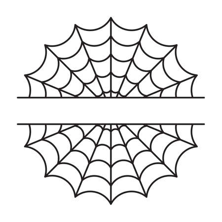 Spider web split name frame. Halloween cut file