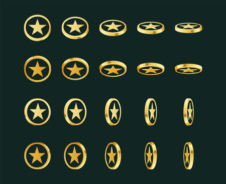 Set of rotating gold coins with star sign.
