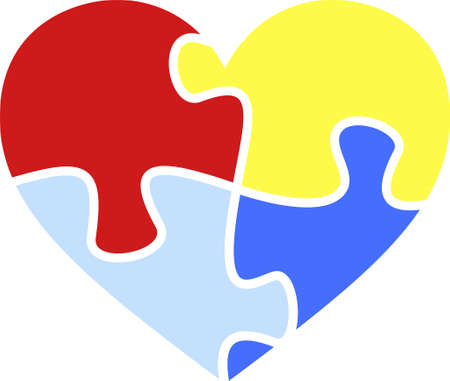 Autism awareness month symbol. Puzzle colored heart. Illustration