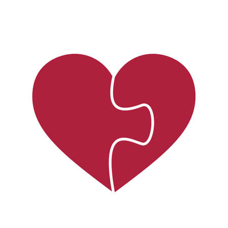 Puzzle heart shape consisting of two puzzle pieces.