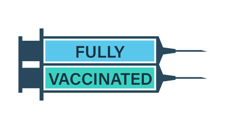 Vaccinated by two doses. Two syringes with   vaccines Illustration