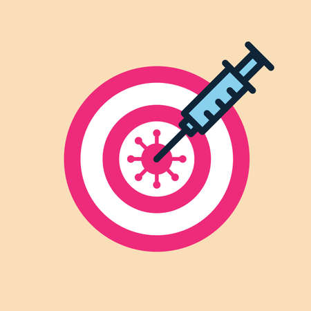 Syringe with vaccine hits in the virus.