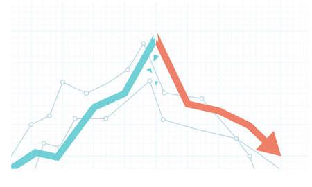 Stock market growth and sudden drawdown illustration