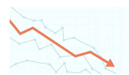 Stock market chart. Financial falling line graph