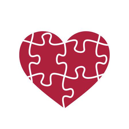 Puzzle heart shape. Puzzle pieces. Valentine day symbol.