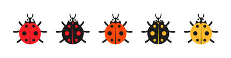 Lady bug with big eyes. Red, black, yellow colored lady-beatles Illustration