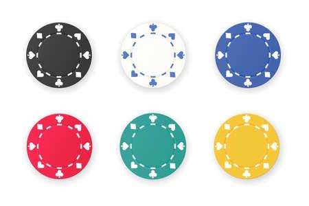 Set of gambling game like poker dice or roulette chips Illustration