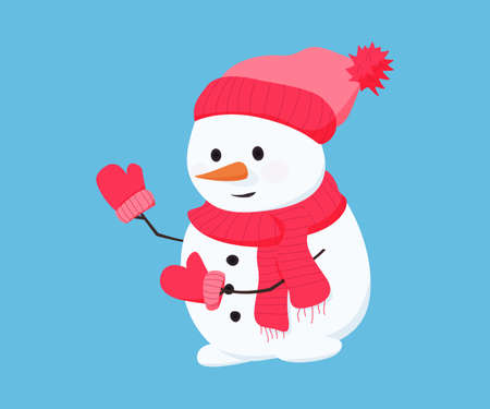 Snowman in red hat, scarf and gloves. Illustration