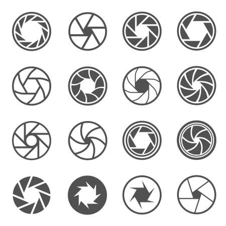 Camera shutter, aperture line and bold icons set isolated on white. Photographic optical equipment.