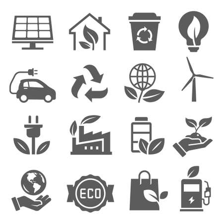 Eco-friendly, save Earth, recycling bold black silhouette icons set isolated on white. 向量圖像