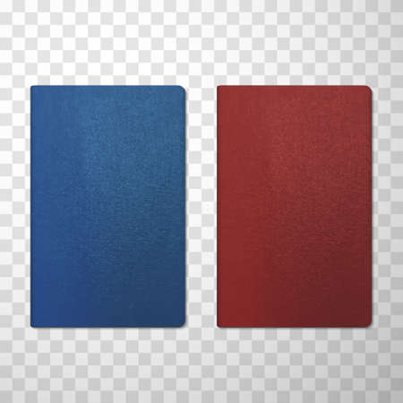 Passport covers blue and red realistic mockups. International or national documents.