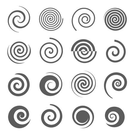 Spiral, helix line and bold black silhouette icons set isolated on white. Curl, curve stripe, twirl pictograms collection. Vortex, whirlpool, volute, swirl vector elements for infographic, web. Vecteurs
