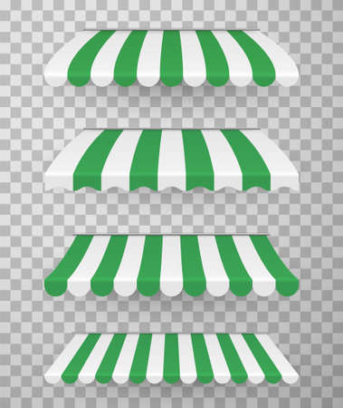 Awnings different design realistic set with white, green stripes. Overhangs, coverings.