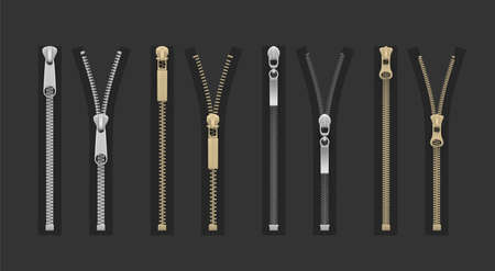 Zipper, fly, dingy or zip fastener for clothes open, closed realistic set. Tailor metal accessories.