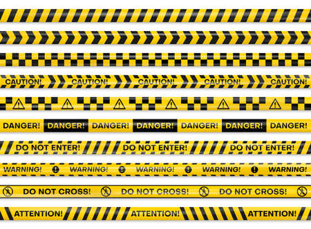 Yellow black checkered, diagonal danger, caution, barricade, barrier, hazard, warning reflective tapes.