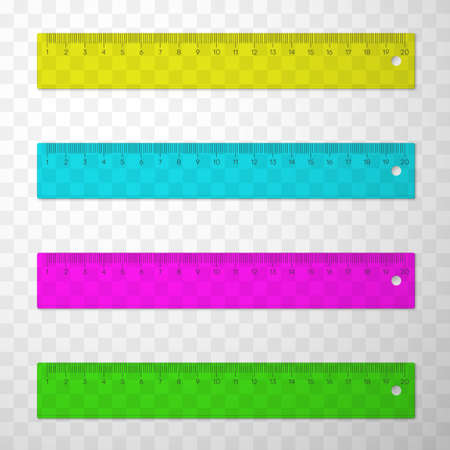 Rulers or line gauges plastic multicolor set. Measuring device. Stationery, office, school implements.