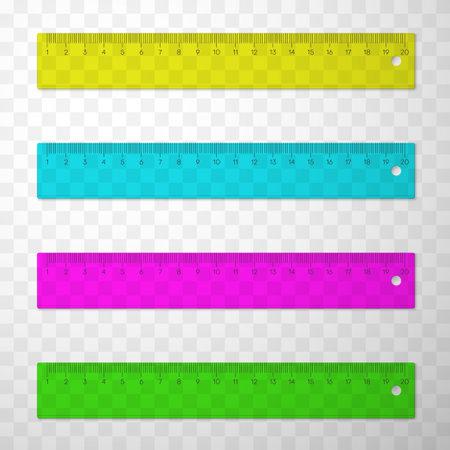 Rulers or line gauges plastic multicolor set. Measuring device. Stationery, office, school implements. Ilustración de vector