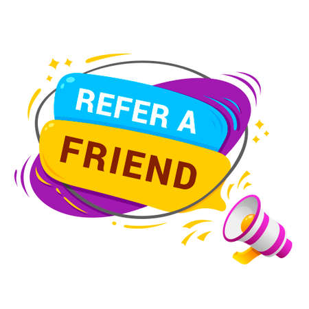 Refer a friend modern badge with loudspeaker. Affiliate marketing, referral program, invitation.