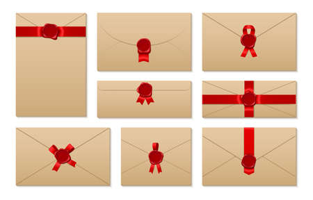 Envelopes tied with red ribbon and sealed realistic set. Kraft paper letters horizontal, vertical.