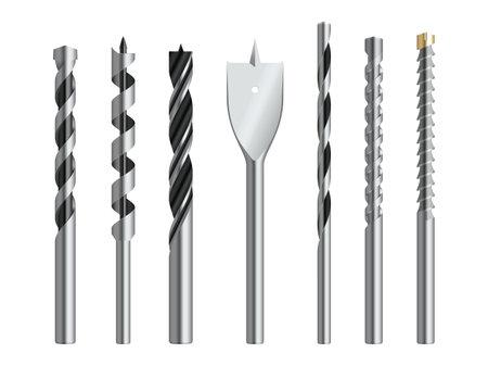 Drill bits metallic realistic set. Steel cutting tools in different shapes spade, lip, spur, masonry, twist.