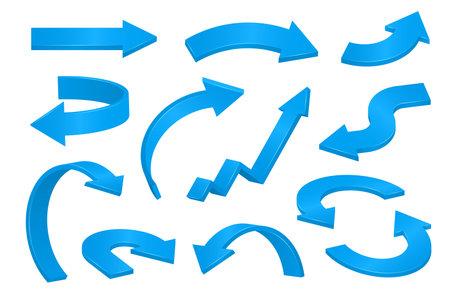 Blue 3d arrows of various shapes set.