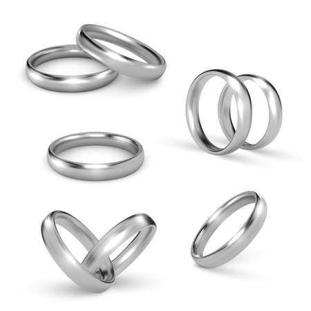 Silver rings for engagement, wedding realistic set. Pair of white gold, platinum jewelry accessories.