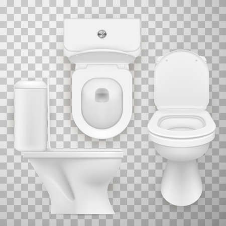 Flush toilet bowl, WC pan, water-closet realistic set. Side, front, top view.