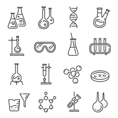 Chemistry or chemical laboratory line icon set Illustration