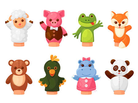 Hands puppets set, animal friends for play, puppet show stage
