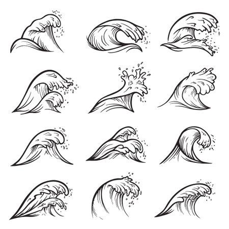 Sea wave crest, ocean surf or tide set 矢量图像