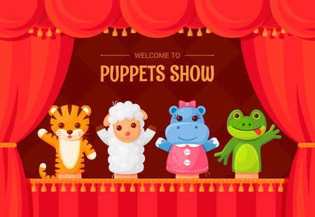 Puppet show, child theater funny stage performance